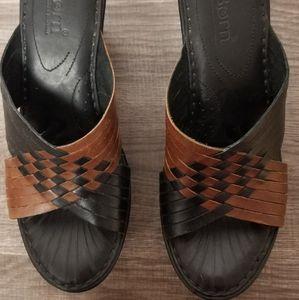 Born Millia Wedge Black Strappy Sandals